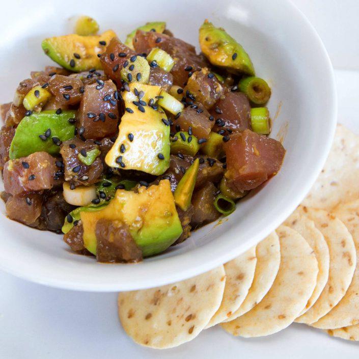 Ahi Tuna Poke with Avocado and Black Sesame Seeds