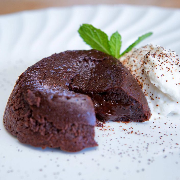 Ancho Chili Chocolate Lava Cake with Whipped Cream
