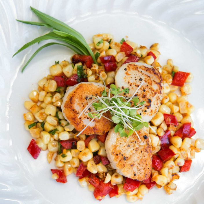Seared Diver Scallops with Sautéed Fresh Corn and Red Peppers