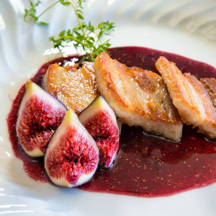 Seared Pork Belly with Fresh Fig and Port Wine Reduction