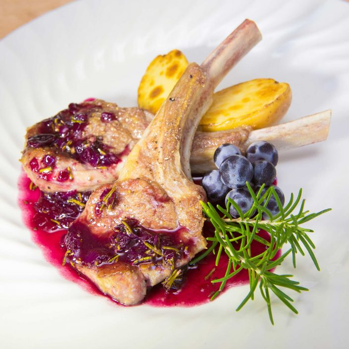 Grilled Rack of Lamb with Concord Rosemary Sauce